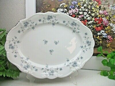 "Bavarian Johann Haviland  BLUE GARLAND 12 3/4"" Oval Meat Serving Platter GERMANY"