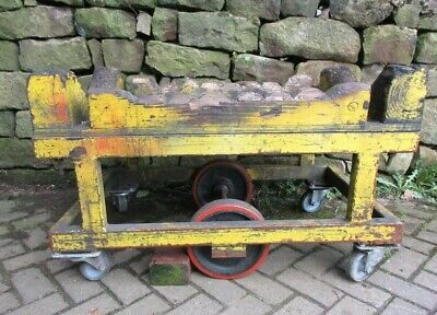 A Vintage Wood And Painted Steel Industrial Factory Trolley