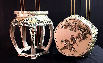 PAIR VINTAGE CHINESE CARVED Hand Painted DRUM STOOLS, END TABLES