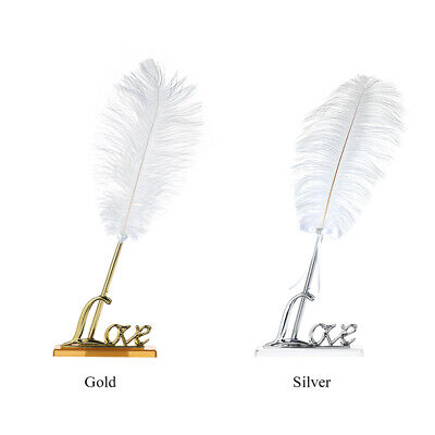Luxury Feather Pen White Metal Tip Book Signing Pen Long Quill Silver Pen