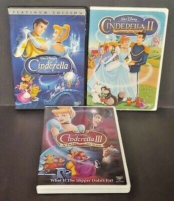 Cinderella 1 2 3 Trilogy Special, Twist in Time Disney Pixar 3 Movie DVD Lot