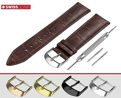Fits EMPORIO ARMANI Dark Brown Watch Strap Band Genuine Leather For Buckle Clasp
