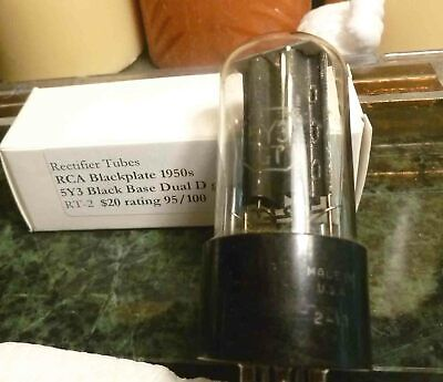 RCA 5Y3GT  black plate rectifier tube 95/100 Black Base Dual D Getters