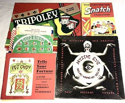 VINTAGE GAMES LOT 1940's, 50's, 60's MYSTIC EYE, GONG HEE FOT CHOY, SNATCH ++