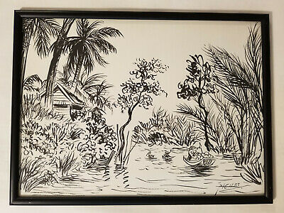VINTAGE CHURCH BUILDING Pen and Ink Drawing Print Framed Art