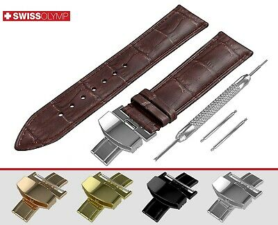 Fits EMPORIO ARMANI Dark Brown Genuine Leather Watch Strap Band For Clasp Buckle