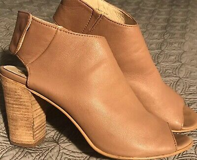 6bfcbee94a9 STEVE MADDEN WOMENS Nonstp Tan Leather Peep Toe Booties Heels 8.5 M