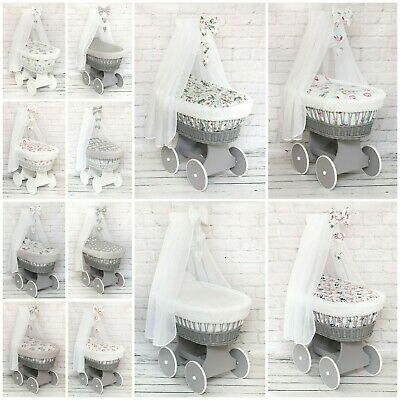 Wicker Moses Basket Wheel Baby Full Dimple Bedding Set Canopy Bow White Grey