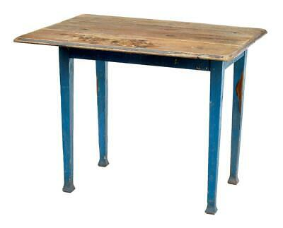 19Th Century Swedish Painted Pine Drop Leaf Kitchen Table