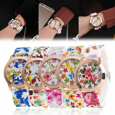 Classic Women's Watch Silicone Printed Flower Causal Quartz Analog Wrist Watches