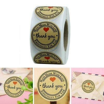 500pcs/Roll Hand made with Love Thank you Stickers Seals Lables Scrapbook C O8C5