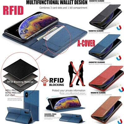 RFID Blocking Private Leather Magnetic Case Cover Fr iPhone XS MAX XR XS 6s/7/8+