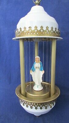 VINTAGE MINERAL OIL HANGING RAIN LAMP MOTHER MARY DRIP LIGHT WORKS Madonna Swag