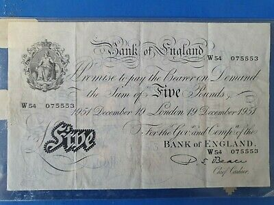 1949 BANK OF ENGLAND, L.K. O'BRIEN, FIVE POUNDS, 17th May White £5 Banknote EF