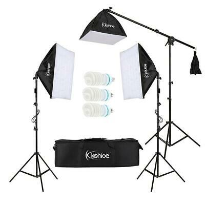 Kshioe Photo Studio Photography 3 Soft Box Light Stand Continuous Lighting Kit