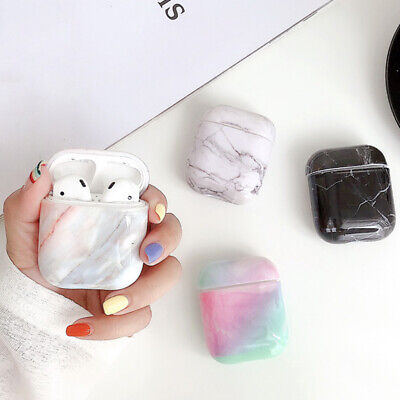 For Apple Airpods Marble Pattern Hard Clear Charging Case Earphone Protect Cover