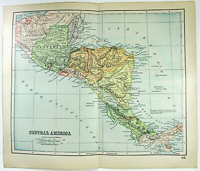Original 1895 Map of Central America by Dodd Mead & Co. Antique