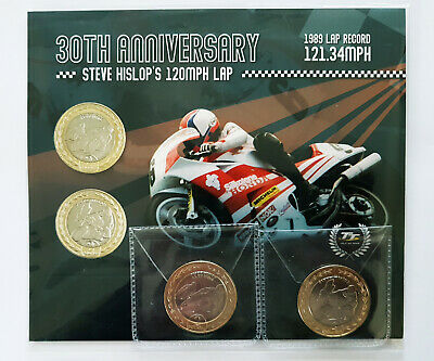 2019 £2 IoM TT Steve Hislop 120mp/h Lap 2 x Two Pounds Coin Set Isle of Man
