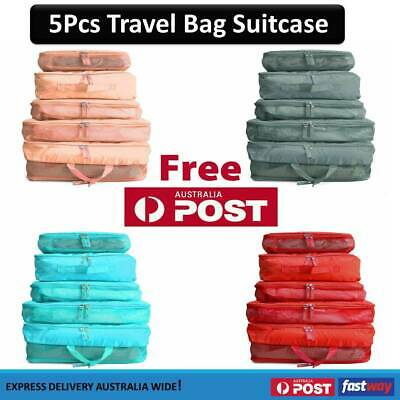 5pcs Packing Cube Pouch Suitcase Clothes Storage Bags Travel Luggage Organizer