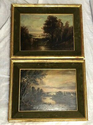 Pair Early 19th Century Antique Castle Landscape Oil Paintings Signed J Russell