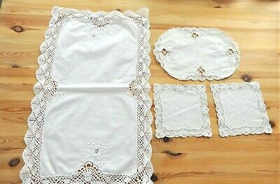 Vintage Embroidered White Linen with Crochet  Tray Cloth, Mats, Doilies