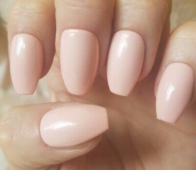 Hand Painted Light Nude False Nails. 20 Short Coffin Press-on Nails. Glossy.