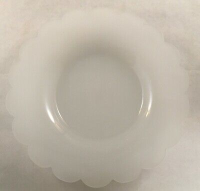Antique Victorian White Clambroth Opaline Glass Underplate Under Plate Dish