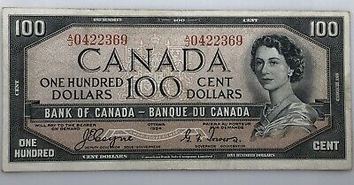 1954 $100 Canada Hundred Dollar Bank Note Devil's Face BC.35a EF A/J 0422369