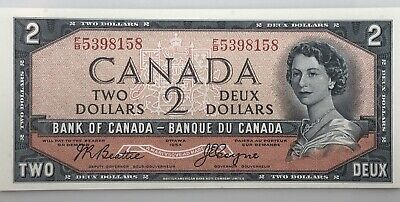 1954 $2 Dollar Canada Two Dollar Bank Note Devil's Face BC-30b UNC F/B 5398158