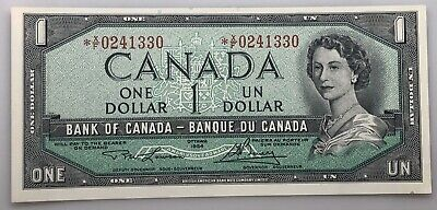 1954 $1 One Dollar Canada Bank Note *X/F 0241330 UNC BC-37da