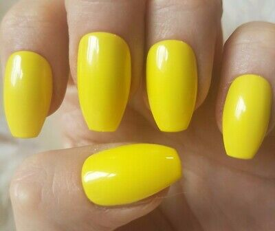 Hand Painted Yellow False Nails. 20 Short Coffin Press-on Nails. Glossy.