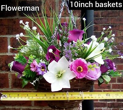 All year round artificial hanging basket 10inch baskets