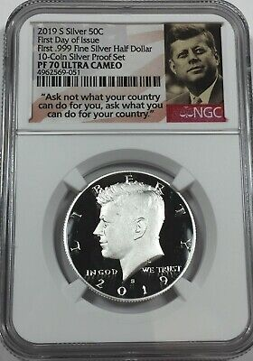 2019-S NGC PF70 KENNEDY .999 SILVER HALF DOLLAR PROOF tcs FIRST DAY ISSUE #Sa1