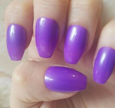 Hand Painted Purple False Nails. 20 Short Coffin Press-on Nails. Glossy.