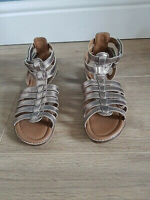 Girls M&S Gold Leather Gladiator Sandals Junior Size UK 13 EU 32 * WORN TWICE *