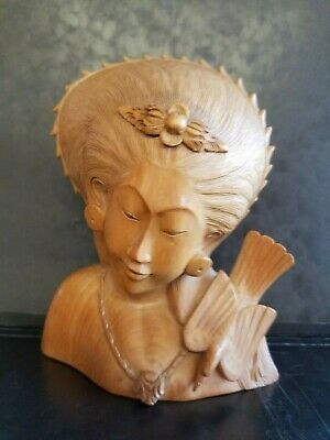 Hand Carved Vintage Wood Bust Sculpture Of Balinese Woman