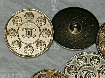 Chanel 2 Metal Cc Logo  Camellia Flower Matte Gold Buttons 12 Mm Small Lot Of 2