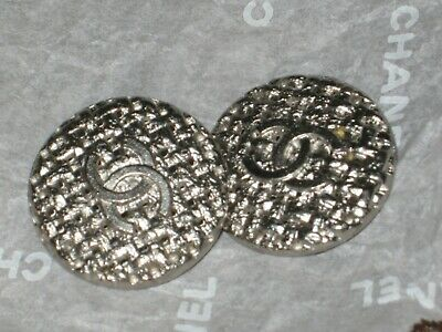 Chanel 2 Buttons Clean Silver Cc Logo ,  20 Mm Lot 2 New Flawless