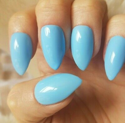 Hand Painted Light Blue False Nails. 20 Short Stiletto Press-on Nails. Glossy.