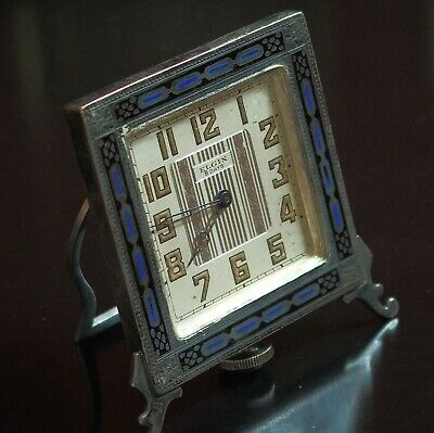 Rare Art Deco Elgin 8 Day Clock Sterling w/ Inlay Enameled Case Working Serviced