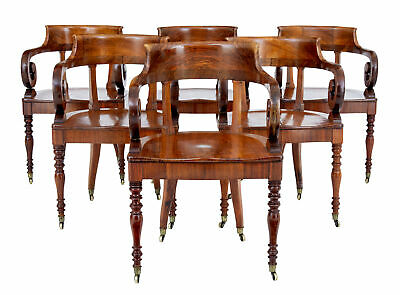 Rare Set Of 6 Mid 19Th Century Danish Walnut Captains Chairs