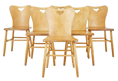Set Of 6 Mid 20Th Century Scandinavian Pine Dining Chairs