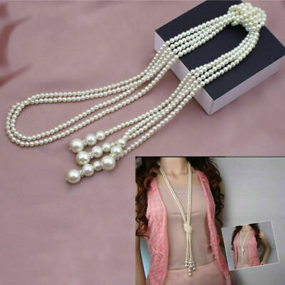 """Women White Shell Pearl White Drop  Necklace Beaded Long Chain Rope Bead 50"""""""