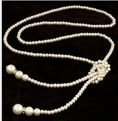 Women White Shell Pearl White Drop  Necklace Beaded Long Chain Rope Bead 125cm