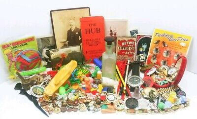 Vtg Antique Junk Drawer Lot Militaria Jewelry Celluloid Ephemera Toys Glass More