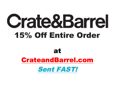 Crate and Barrel 15% off entire purchase 1coupon - sent fast - expires 6-30-20