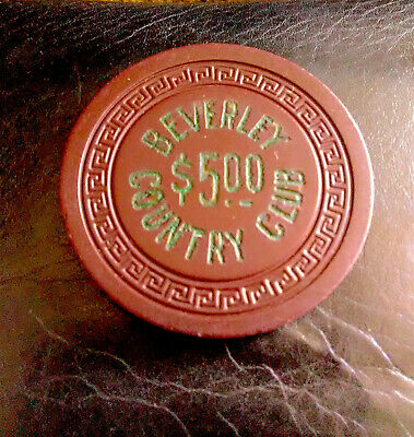Rare, Illegal Casino, Beverly Country Club, Maroon $5 Chip, New Orleans, La