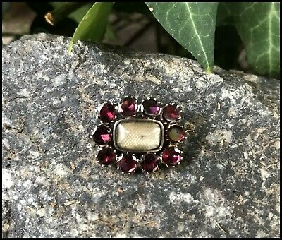 HTF Antique Georgian Garnet Solid 9ct Gold Mourning Brooch Lace Pin