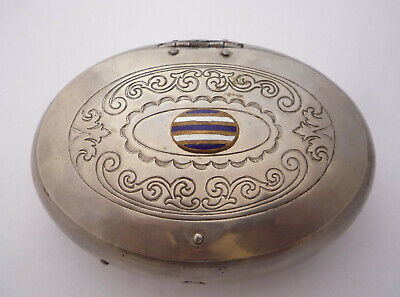 Victorian Oval Shaped Pewter Table Snuff Box