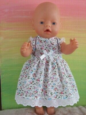 42cm BABY BORN Dolls Clothes / SLEEVELESS DRESS / blue & pink floral on white